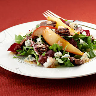 Roasted Pear Salad with Gorgonzola and Maple-Balsamic Dressing.