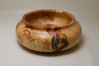 "Photo: Richard Webster 11"" x 4"" bowl [spalted maple, turquoise]"