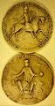 Photo: Henri II Plantagenêt, roi d'Angleterre, duc de Normandie (1er sceau, avers et revers), en 1154 - Moulage, Paris, Archives nationales de France, sc/10004-10004bis - diam. 90 mm - Légende de l'avers : /+ HENR(icvs) : DEI GR(aci)A : DVX : NORM[ANORVM :] ET : AQVIT(anorum) : ET : COM(itis) : ANDEG(avorum)/ (Henri, par la grâce de Dieu, duc de Normandie et d'Aquitaine, comte d'Anjou) ; du revers : /+ HENRICVS DEI G[RACIA] REX ANGLORVM/ (Henri, par la grâce de Dieu roi d'Angleterre).