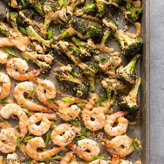 Sheet Pan Peanut Sauce Shrimp And Broccoli.