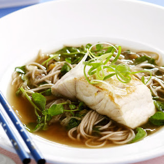 Watercress and Noodle Soup with Pan-Fried Fish.