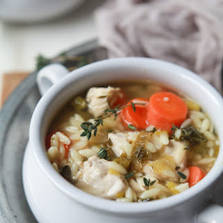 Light Lemon Chicken Orzo Soup