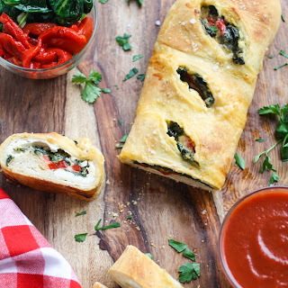 Spinach and Roasted Red Pepper Stromboli Recipe