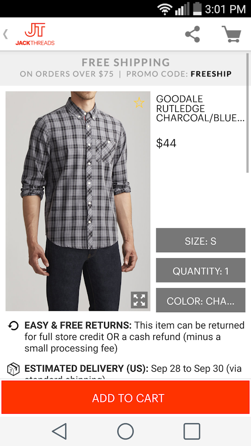 JackThreads: Shopping for Guys- screenshot