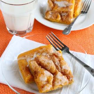 Pumpkin Vanilla Cinnamon Roll Sheet Cake