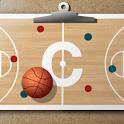 Basketball coach's clipboard icon
