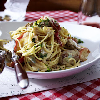 Spaghetti with Lamb and Roquefort Sauce.