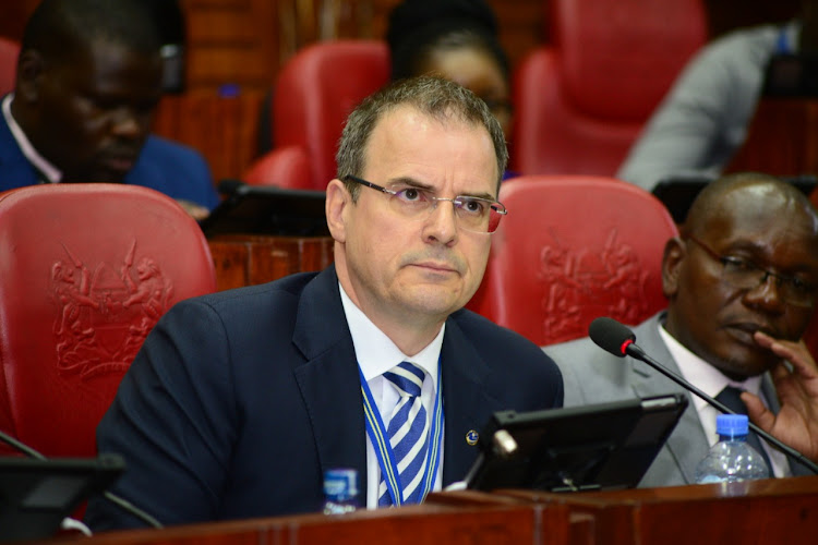 Kenya Airports Authority Managing Director, Jonny Andersen at the parliament buildings in Nairobi in April 10, 2019.