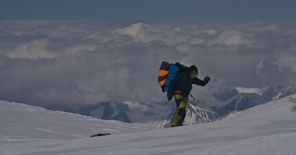 Photo: 5th of June. Climbing 5400 m pass between Aina and Prospectors Peak on King Trench Route. Day 27.