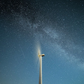 Speedy Milkyway by Kim Borup Matzen - Landscapes Starscapes ( cold, long exposure, night, windmill, milky way )