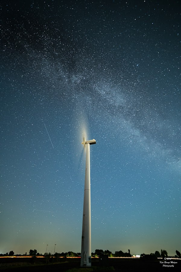 Speedy Milkyway by Kim Borup Matzen - Landscapes Starscapes ( cold, long exposure, night, windmill, milky way )