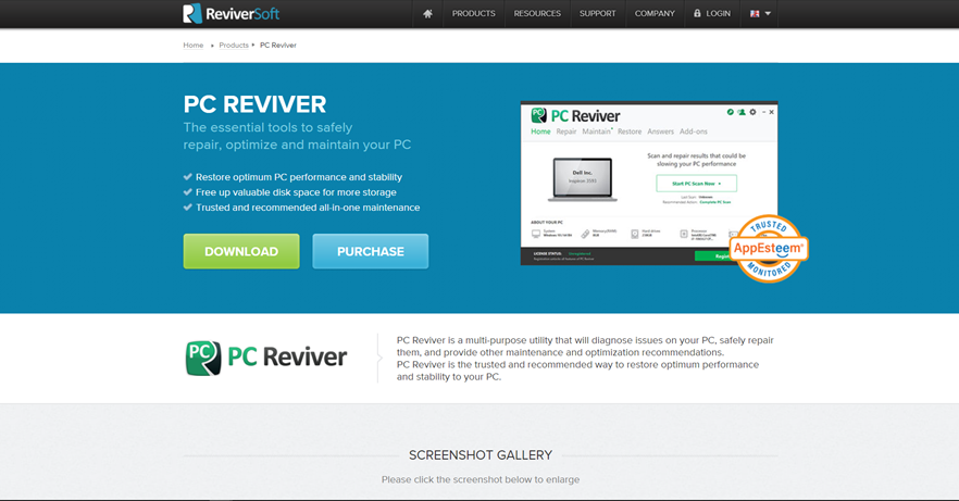usa PC Reviver per pulire i file spazzatura