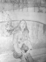 Photo: Versailes, au bassin du Trianon - dessin préparatoire fait sur la toile à peindre (dérail)