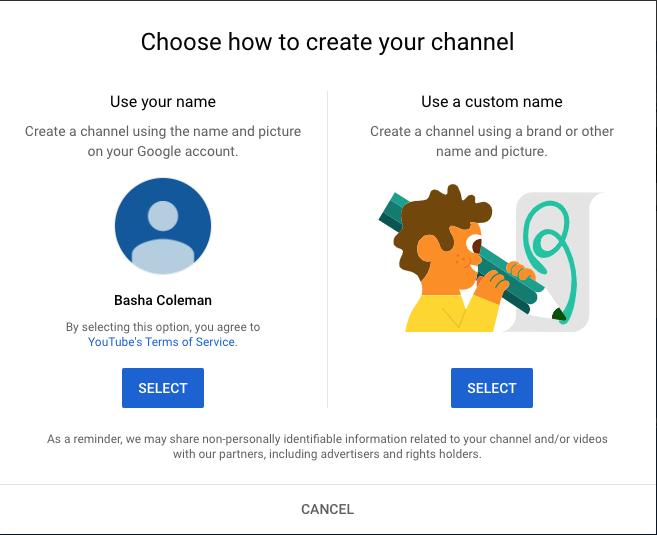 YouTube account - use a custom name