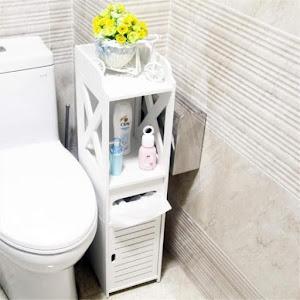Dulap vertical pentru baie, vintage, 80x20x20 cm, Alb