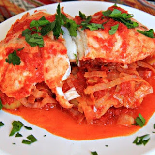 Patagonian Fish with Leek and Red Bell Pepper Sauce