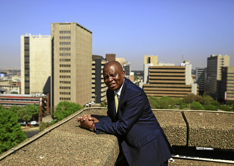 Johannesburg mayor Herman Mashaba surveys the city skyline from the roof of his offices in Braamfontein.