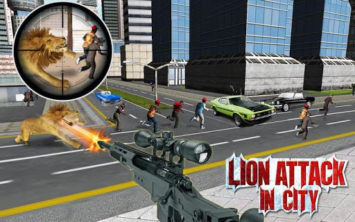 市内のライオンの攻撃