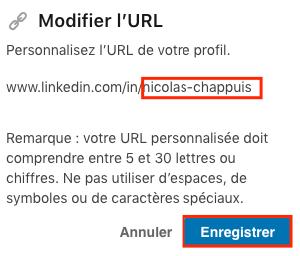 Modifier URL LinkedIn