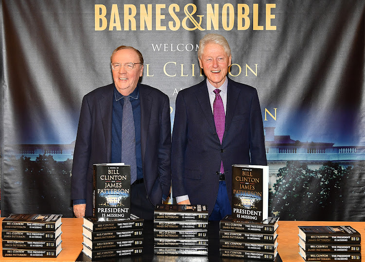 James Patterson and Bill Clinton with their novel, 'The President is Missing'
