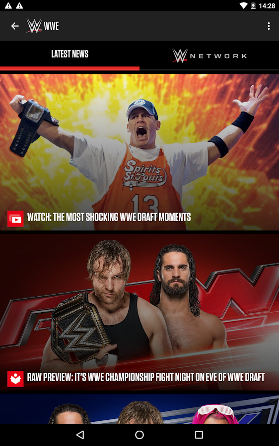 Screenshots of WWE for Android