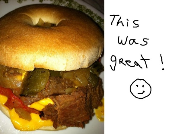 http://www.justapinch.com/recipe/colleen-sowa/grilled-fajita-breakfast-bagels/quick-easy-healthy-beef?page=1#comment297780  A way to use left overs for breakfast!