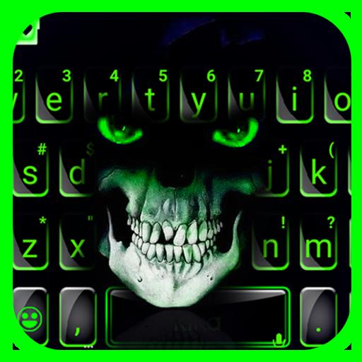 Green Horror Devil Keyboard -flaming skull Icon