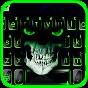 Green Horror Devil Keyboard -flaming skull