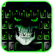 Green Horror Devil Keyboard -flaming skull