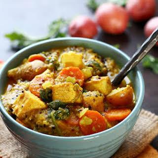 Spicy Tofu & Potato Coconut Curry Soup.
