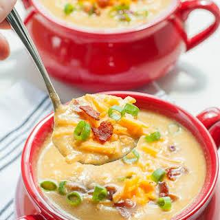 Slow Cooker Sweet Potato and Cauliflower Soup.