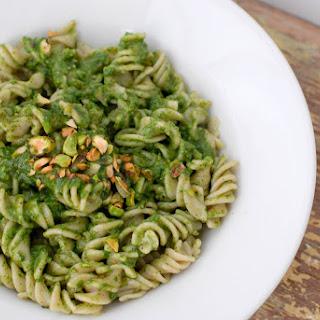 Toasted Pistachio Arugula Pesto with Brown Rice Fusili Pasta (gluten free).