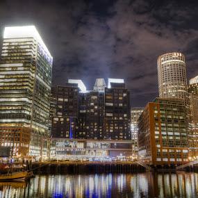 Boston at Night by AsDigiClicks Photography - Landscapes Starscapes ( new england, boston, beautiful, night, beantown, landscapes, nightscapes, city )