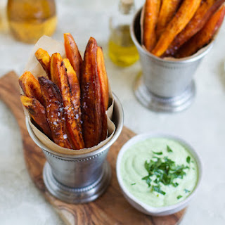 Baked Sweet Potato Fries with Cilantro Avocado Dipping Sauce Recipe