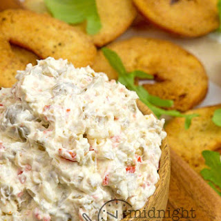 Olive Dip With Garlic Bagel Chips.
