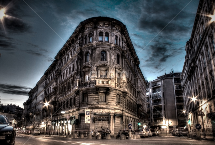 Old street corner by Trang Do - Buildings & Architecture Other Exteriors ( building, hdr, exterior, trieste, street, long exposure, italy, dusk )