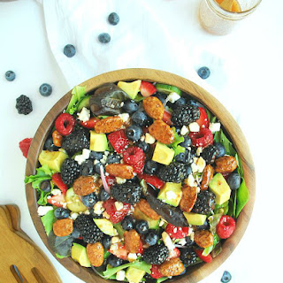 Berry Avocado Salad with Maple Pecans and Strawberry Balsamic Vinaigrette