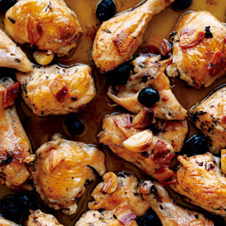 Roast Chicken with Pancetta and Olives.