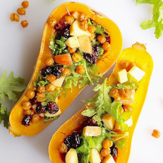 Curried Chickpeas, Apple + Kale Stuffed Butternut Squash