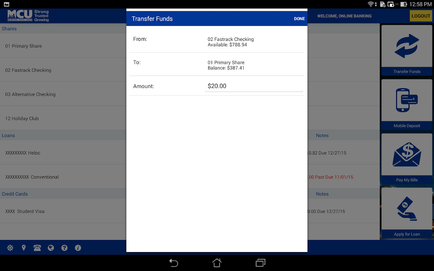 NYMCU Mobile Banking- screenshot