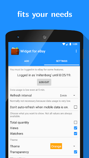 Widget for eBay screenshot