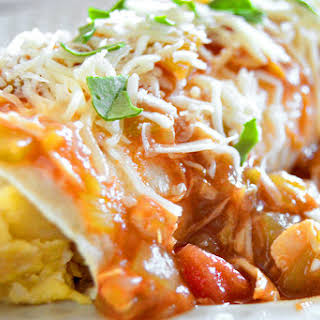 Smothered Green Chili Breakfast Burritos.