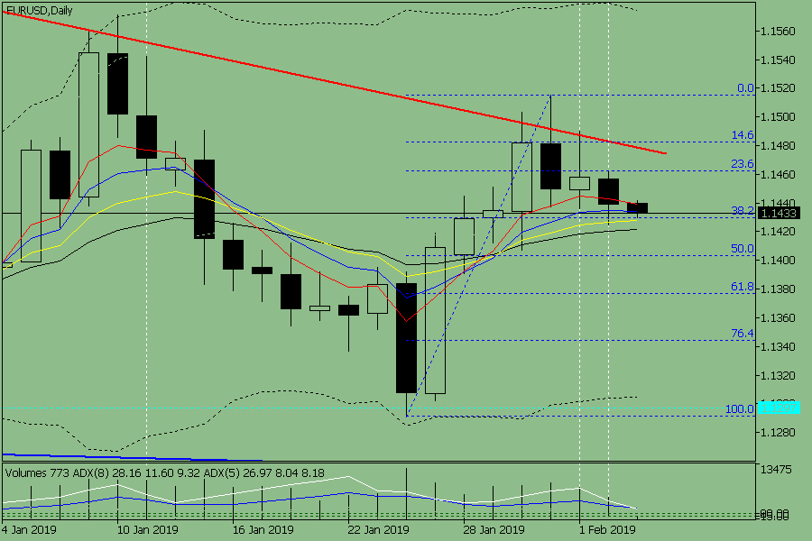 Indicator analysis. The daily review of the currency pair EUR / USD on February 5, 2019