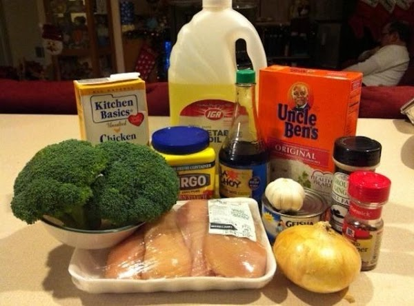 Gather ingredients. Mix 1 Tblsp. veg oil, 2 tsp. soy sauce, and 1 tsp....