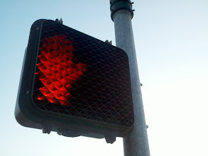 Photo: Walking back from working out at the park, I glanced up to catch a fun angle on the crosswalk light.