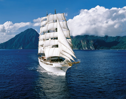 The four-masted ship Sea Cloud II offers sailings to the Mediterranean in summer and Caribbean in winter.