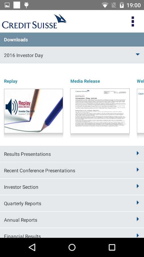 Investor Relations and Media- screenshot