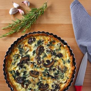 Spinach & Mushroom Quiche With Rosemary & Garlic Rösti Crust.