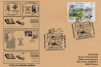 Photo: Matasellos Primer Día de circulación del sello de Literatura Española dedicado a Leopoldo Alas Clarin, en 2001