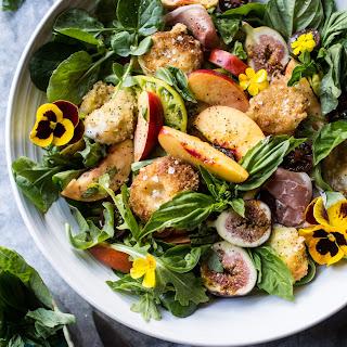 Nectarine and Fried Mozzarella Caprese Salad.